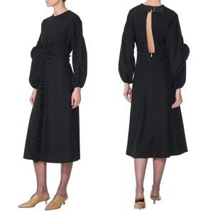 Tibi Bond Stretch Knit Ruffle Midi Dress